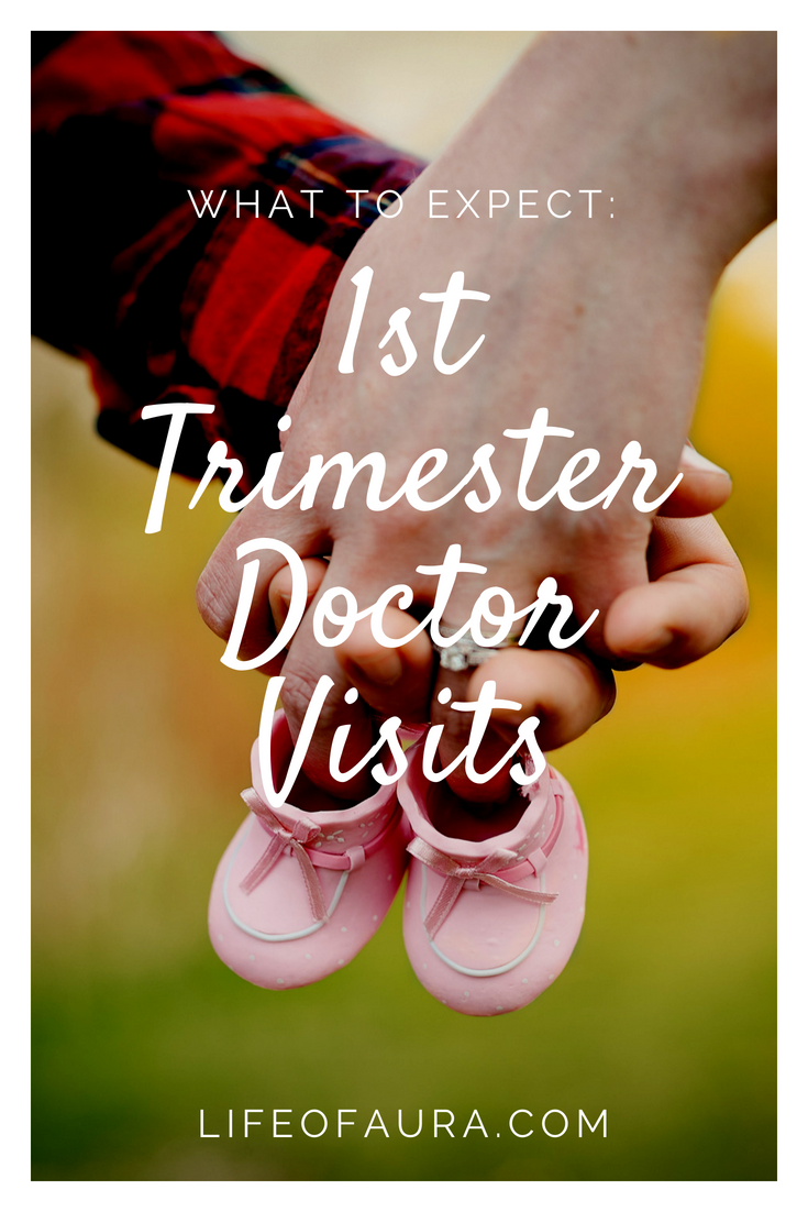 The 1st Trimester is packed with information overload. Don't get overwhelmed, check out what you should expect for the 1st Trimester's doctor visits. lifeofaura.com #pregnancy #1sttrimester #whattoexpect #whattoknow #pregnant #FTM