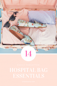 Packing a hospital bag isn't always easy and many times we forget things. Check out the 14 essentials we tend to forget. #hospitalbag #pregnancy #3rdtrimester